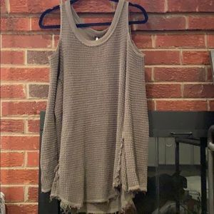 Free People cold shoulder olive tunic